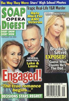 Genie Francis & Tony Geary (Laura & Luke #GH) Katherine Kelly Lang (Brooke #BnB) 2/26/02 http://classicsodcovers.tumblr.com/