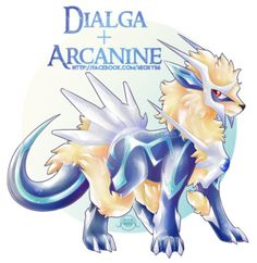 Dialga + Arcanine                                                                                                                                                                                 More Pokemon Rare, Pokemon Mix, Pokemon Fusion Art, Mega Pokemon, Pokemon Fan Art, Fantasy Creatures, Mythical Creatures, Rayquaza Pokemon, Pokemon Breeds