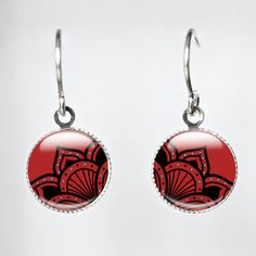 Red Earrings Red and Black Flower Line Art by GlassArtDreams, £13.99