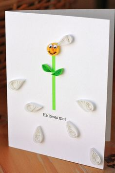 Paper Daisy with Petals Greeting Card He by SweetSpotCardShop, $6.00