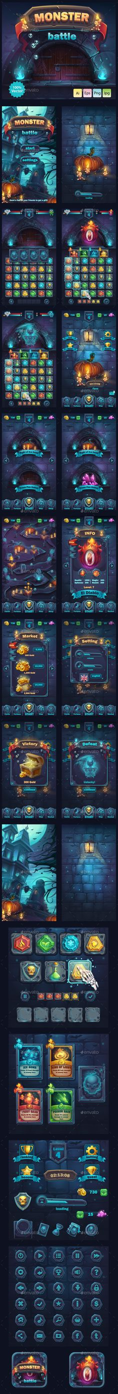 Monster Battle GUI General Description  Complete pack of user interface elements for your web/video game in mobile format.  All elements (AI & EPS format) are 100% vector and fully customizable. All fonts converted to curves. Fonts used: Franklin Gothic FS Demi.  You can use these fonts under a free license or use your own fonts.