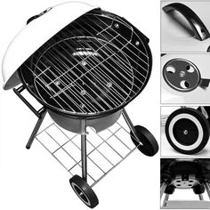 Trolley Charcoal BBQ Outdoor Garden Patio Portable Round Smoker Patio Grill New