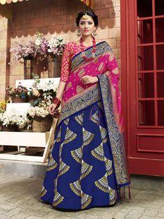 Delicate banaras silk Designer Lehenga Choli in Blue Tussar Silk Saree, Soft Silk Sarees, Silk Lehenga, Designer Bridal Lehenga, Bridal Lehenga Choli, Western Outfits, Indian Outfits, Indian Clothes, Patiala Salwar