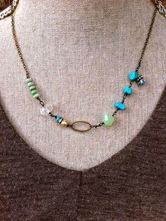 Liz. turquoise beadedbohemian necklace. by tiedupmemories on Etsy