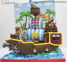 Jake and Neverland Pirate Ship cake