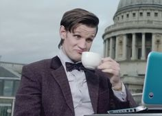The Doctor having coffee :)