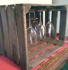 apple crate wine glass rack by Applegroveadirondack on Etsy, $20.00  so so cool! would be perfect for my wine glass collection