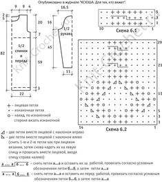 Выкройка, схемы узоров с описанием вязания спицами платья с высоким воротником размера 44-46.