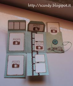 Scundy Scrap and Handmade: Mini album Voyage. Instructions are in a foreign language, but there is a layout with measurements in English.
