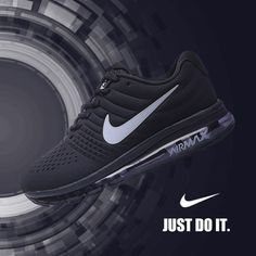 Nike Air Max 2017 Black Leather Women Men Shoes