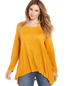 American Rag Plus Size Long-Sleeve High-Low Tunic