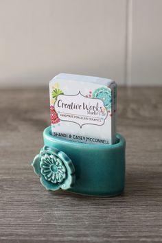 Business Card Holder For Desk Dark Teal With Flower Porte Carte De VisitePorte