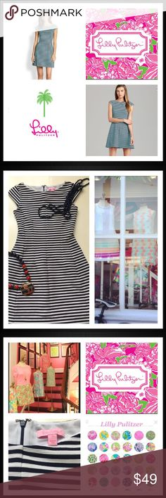 Lilly P classic striped dress Lilly Pulitzer, Sz XS, classic, nautical,  navy and white striped, Briella fit and flare dress. Perfect for all those beach parties this summer. Plenty of stretch in this one, 32in in length, 15in pit to pit. Princess seaming and cap sleeves make this dress so cute. Get Nauti💙 Lilly Pulitzer Dresses Mini