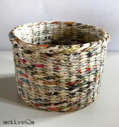 newspaper basket colorful upcykled design recykled paper basket makkirequ eco simple form natural color white