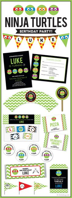 Teenage Mutant Ninja Turtles theme party! Invitations, water labels, stickers, DIY party printables and lots more from Chickabug.com #TMNT #TMNTparty