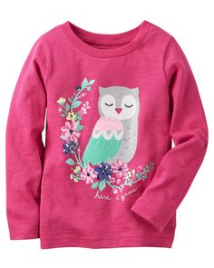 3mo, 6mo Baby Girl Long-Sleeve Owl Graphic Tee from Carters.com. Shop clothing & accessories from a trusted name in kids, toddlers, and baby clothes.