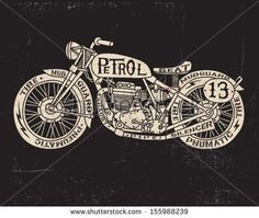 Text Filled Vintage Motorcycle by Tairy Greene, via Shutterstock