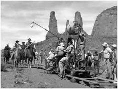 John Wayne filming on set of The Searchers with director Joh Ford