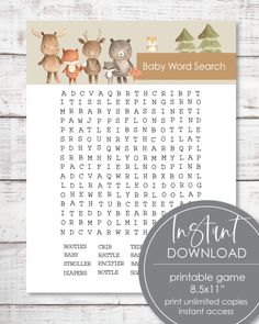 Print It Baby Baby Shower Candy, Baby Shower Prizes, Baby Shower Bingo, Free Baby Shower Printables, Free Printable, Classic Baby Books, Baby Name Game, Baby Words, Watercolor Animals