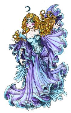 The realm of swirling mists is her kingdom. Colour sample by Helen Angel Cullum You will receive a black and white image. White Image, Copics, Digital Stamps, Moonlight, Mists, Coloring Books, Black And White, Artwork, Anime