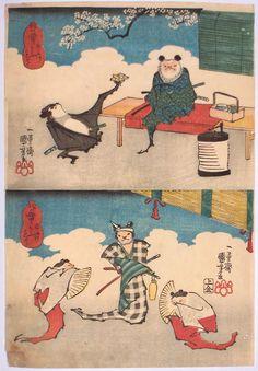 Bats of Feudal Japan! ukiyo-e: ichiyusai kuniyoshi, 1846
