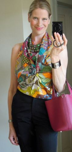 MaiTai's Picture Book: Hermes scarf (Fleurs Indiennes) as a halter top