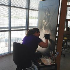 """The gloves are on: Here's a behind-the-scenes peek at a conservator working hard to touch up a 19th century painting. You can see this newly retouched painting hanging in our permanent collection galleries right now! #MFAH #MuseumWeek #latergram The painting is: Richard LaBarre Goodwin, """"Hunting Still Life,"""" c. 1890, oil on canvas, the Museum of Fine Arts, Houston, gift of the Junior League of Houston by mfahouston"""