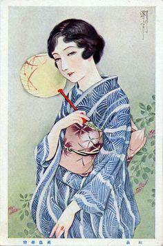 taishou-kun:  Takabatake Kasho 高畠華宵 (1888-1966) Postcard - 1920s