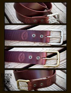 """The """"old faithfuls"""" of the belt and strap world... Latigo is super tough and weatherproof! These unisex belts will develop all kinds of character as they age too!!-Cut right from sides of 8/9oz Latigo-Coppery brown/burgundy/black-Cut to  your desired length-Available with antiqued nickel or brass buckles***please specify desired length when ordering*** Made to order!"""