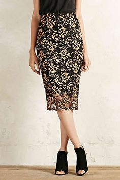 Ganni Lace Scallop Pencil Skirt