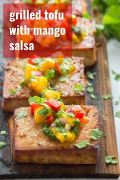 This grilled tofu is the flavor-packed vegan main dish your cookouts have been missing! Soaked in a zesty cumin-lime marinade and served with mango salsa, this scrumptious (and easy to make) tofu will be a new summer dinner favorite. Easy Vegan Dinner, Vegan Dinner Recipes, Delicious Vegan Recipes, Vegan Dinners, Yummy Food, Easy Summer Meals, Summer Recipes, Coconut Bacon, Grilled Tofu