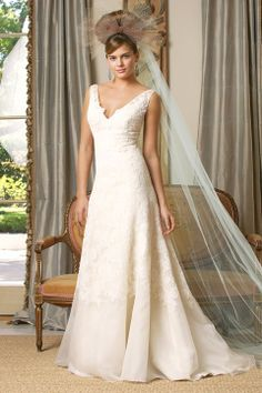 A-line lace sleeveless bridal gown