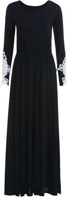 Contrast Lace Long Sleeve Maxi Dress