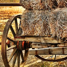 Vintage Hay Wagon by Bonnie Bruno Country Farm, Country Life, Country Living, Little Red Wagon, Old Wagons, Old Farm Equipment, Old Tractors, Thing 1, Down On The Farm