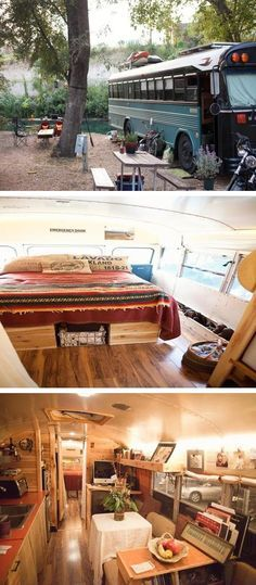We don't use our bus for camping, it's our home! But I like this bus conversion a lot. Kombi Motorhome, Rv Campers, Campervan, School Bus Conversion, Camper Conversion, Bus Living, Tiny House Living, Glamping, Bluebird Buses