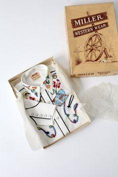 vintage 50s Miller Western Wear shirt / unused with original box