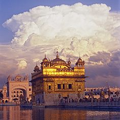 The Golden Temple, Hari Mandir, in Amritsar, India is the most sacred place of the Sikh religion and where Guru Nanak lived and meditated.