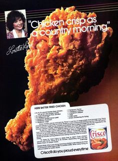 How to make herb batter fried chicken - Click Americana Herb batter fried chicken recipe 1985 Crisco Recipes, Old Recipes, Turkey Recipes, Snack Recipes, Cooking Recipes, Game Recipes, Italian Recipes, Dinner Recipes, Chicken Recipes