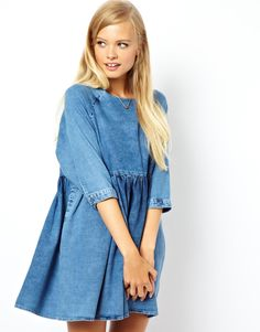 Asos Denim Smock Dress in Mid Wash in Blue