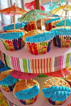 Beach Theme Cupcakes by OwlCitizenSkySailor