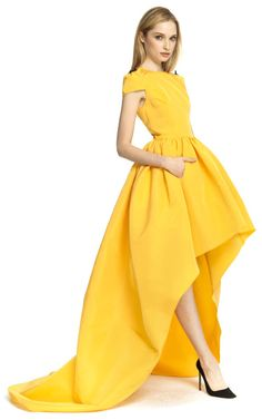 Katie Ermilio Hightolow Hemline Gown in Yellow | Lyst
