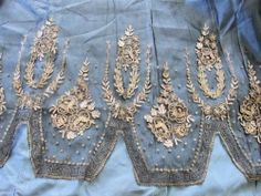 Rare Gold and Silver METAL METALLIC Embroidery Net Tulle Lace Panel