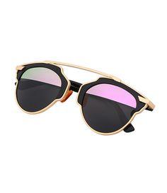 Contrast Cut Out Frame Fashion Sunglasses