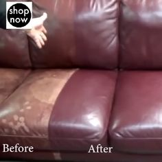 Is your sofa looking a little worn down? Is your car upholstery beat and torn? This handy and easy to use House Cleaning Tips, Car Cleaning, Diy Cleaning Products, Cleaning Solutions, Cleaning Hacks, Things To Know, Good Things, Leather Repair, Leather Furniture Repair
