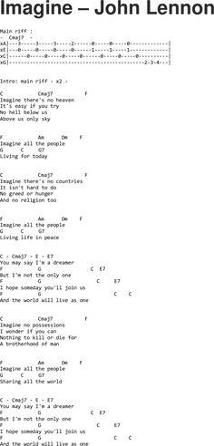 Imagine - John Lennon ukulele tabs