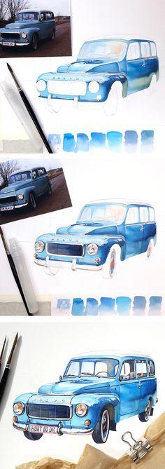 Retro car Volvo B18-210. Watercolor illustration tutorial by Kateryna Savchenko
