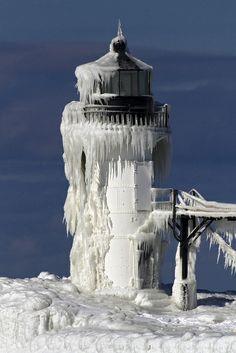 Icy Lighthouse - St Joseph, Michigan