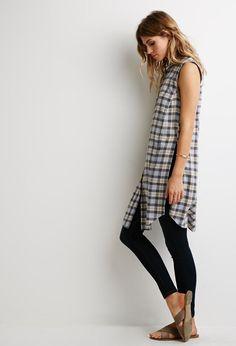 Longline Side-Slit Plaid Shirt - Dresses - 2002247211 - Forever 21 UK