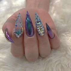 80 ideas to create the best Halloween nail decoration - My Nails Bling Nails, Stiletto Nails, Toe Nails, Fancy Nails, Swarovski Nails, Crystal Nails, Swarovski Crystals, Fabulous Nails, Gorgeous Nails