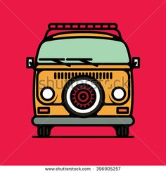 One thin line, flat vintage retro hipster van, vector illustration